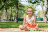Kid with watermelon slice — Stock Photo