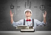 Man writer with typing machine — Stock Photo