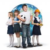 Barn försöker olika yrken — Stockfoto