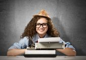 Young woman writer — Stock Photo