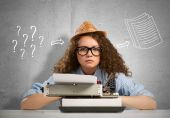 Young Girl writer — Stock Photo