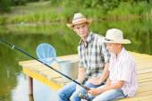Father and son. Summer angling — Stock Photo