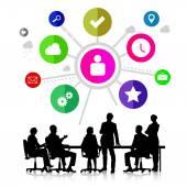 Group of business people silhouettes — Φωτογραφία Αρχείου