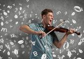 Musician playing violin — Stock Photo