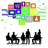 Group of business people silhouettes — Stok fotoğraf