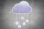 Colorful cloud with business icons — Stock Photo