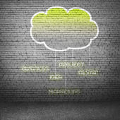 Computing cloud on cement wall — Stock Photo