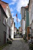 Beyaz ahşap evler eski kesiminde, bergen, norveç — Stok fotoğraf