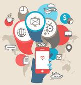 携帯電話デバイスの seo 最適化。ビジネス コンセプト illustrat — ストックベクタ