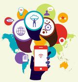 Mobile phone device seo optimization. Business concept illustrat — Stock Vector