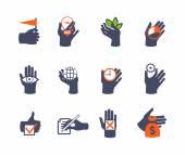 Mãos ícone definido para o site ou aplicativo. projeto liso — Vetor de Stock