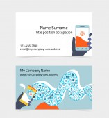 Business card layout. Editable design template — Stock Vector
