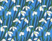 Snowdrops spring seamless background. Hand-drawn vector illustra — Stock Vector
