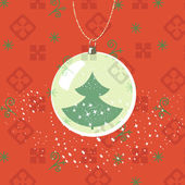 Weihnachten, Neujahr Grußkarte. Ball mit Neujahr Baum Insidern — Stockvektor