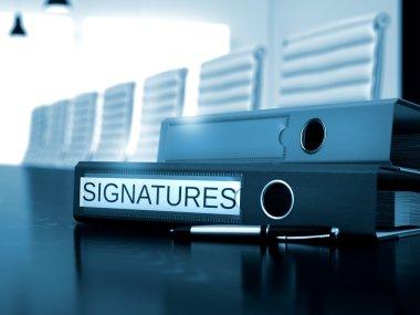 Signatures on File Folder. Blurred Image.