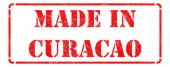 Made in Curacao on Red Stamp. — Stockfoto
