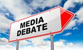 Media Debate on Red Road Sign. — Stock Photo