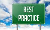 Best Practice on Highway Signpost. — Stock Photo