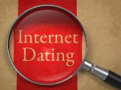 Internet Dating through Magnifying Glass. — Stock Photo