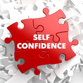 Self Confidence on Red Puzzle. — Stock Photo
