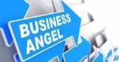Business Angel on Blue Arrow Sign. — Photo