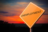 Unemployment on Warning Road Sign. — Foto Stock