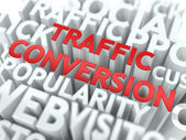 Traffic Conversion - Red Wordcloud Concept. — Stock Photo