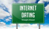 Internet Dating on Green Highway Signpost. — Stock Photo