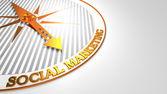 Social Marketing on White-Golden Compass. — Stock Photo