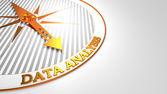 Data Analysis on White-Golden Compass. — Stock Photo