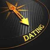 Dating - Golden Compass Needle. — Stock Photo