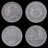 Two Old European Coins on a Black Background. — 图库照片