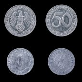 Two German Coins on a Black Background. — 图库照片