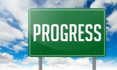 Progress on Green Highway Signpost. — Stock Photo