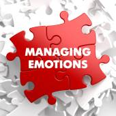 Managing Emotions on Red Puzzle. — Stock Photo