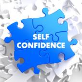 Self Confidence on Blue Puzzle. — Stock Photo