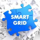 Smart Grid on Blue Puzzle. — Foto de Stock