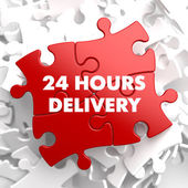 Red Puzzle - 24 hours Delivery. — Stock Photo