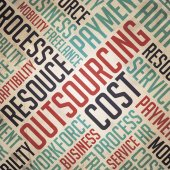 Outsourcing - Retro Word Cloud Concept. — Stock Photo