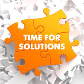 Time for Solutions on Orange Puzzle. — Stock Photo