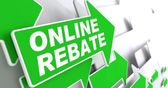 Online Rebate on Green Direction Arrow Sign. — Stock Photo