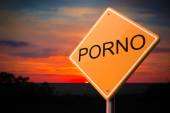 Porno on Warning Road Sign. — Stock Photo