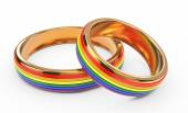 Gay Marriage Concept with Rainbow Rings. — Stock Photo