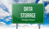 Data Storage on Highway Signpost. — Stock Photo