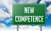 New Competence on Highway Signpost. — Stock Photo
