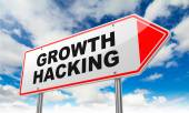 Growth Hacking on Red Road Sign. — Stock Photo