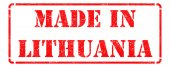 Made in Lithuania on Red Stamp. — Foto Stock