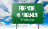Financial Management on Highway Signpost. — Stock Photo