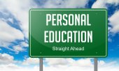 Personal Education on Highway Signpost. — 图库照片