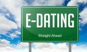E-Dating on Highway Signpost. — Stock Photo